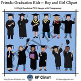 Friends Graduation Kids Boy and Girl Clipart