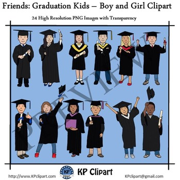 Friends Graduation Kids Boy and Girl Clipart
