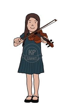Friends Playing Music Boy and Girl Clipart