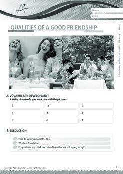 Friends - Qualities of A Good Friendship - Grade 11