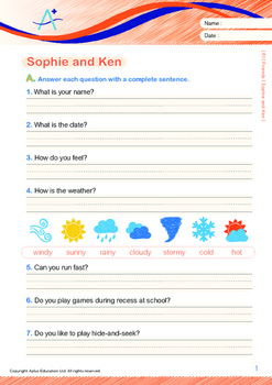 Friends - Sophie and Ken - Grade 1 (with 'Triple-Track Writing Lines')
