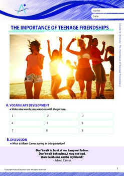 Friends - The Importance of Teenage Friendships - Grade 12