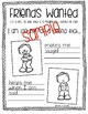 Friends Wanted Writing and Drawing Activity