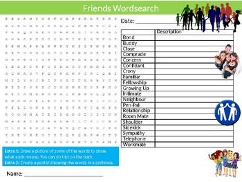 Friends Wordsearch Sheet Starter Activity Keywords Social Growing Up
