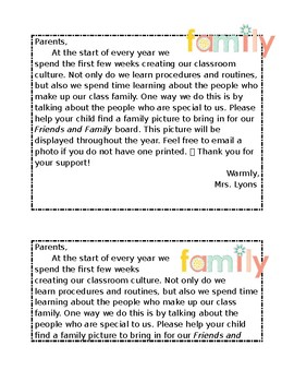 Friends and Family Note Home