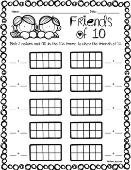 1st Grade Mental Math Packet Preview: 10s combinations worksheets FREEBIE