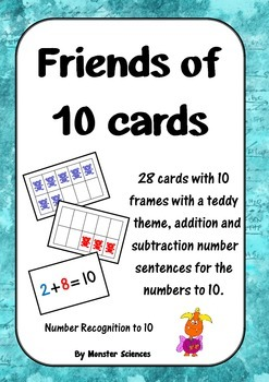 Friends of 10 Card Game - Teddy counters!