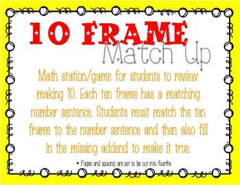 Friends of 10 Matching Game