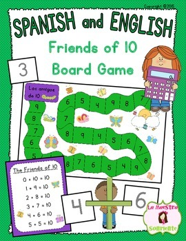 Addition Friends of 10 Board Game: Numbers That Add to Ten (Spanish and English)