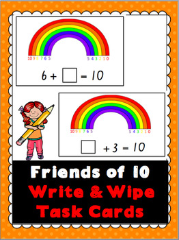 Friends of 10 Write & Wipe Task Cards