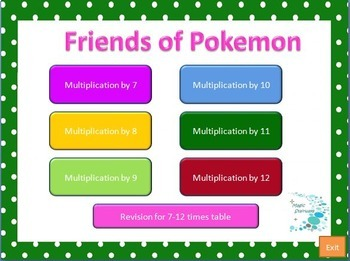 Friends of Pokeman - A fun way to learn multiplication tables Bundle special