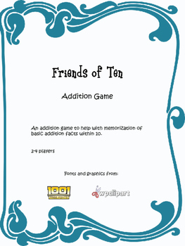 Friends of Ten Addition Facts Game
