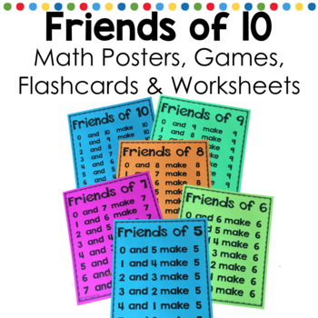 Friends of Ten math fact fluency flash cards, poster and worksheets