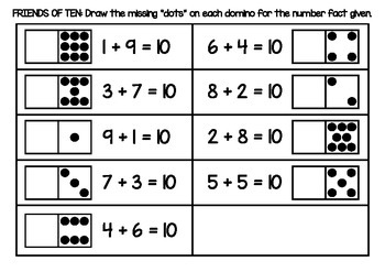 Friends of ten addition fact domino worksheet