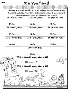 Friends that Make 10 & Associative Property Visual Aids, Game & Worksheets