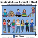 Friends with Books Boy and Girl Clipart
