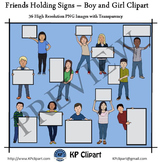 Friends Holding Signs Boy and Girl Clipart