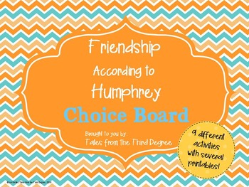 Reading and Writing Response Choice Board for Friendship A