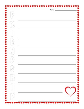 Friendship Acrostic Poetry Framework - Valentine's Day