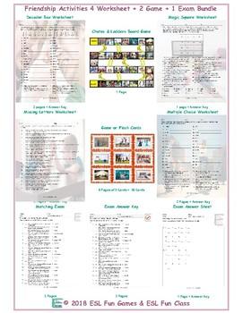 Friendship Activities 4 Worksheet-2 Game-1 Exam Bundle