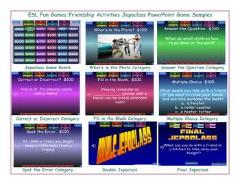 Friendship Activities Jeopardy PowerPoint Game Slideshow