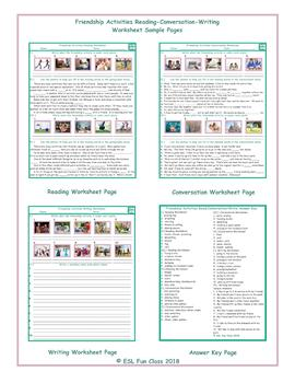 Friendship Activities Reading-Conversation-Writing Worksheets