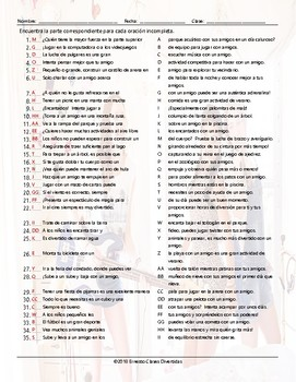 Friendship Activities Sentence Match Spanish Worksheet