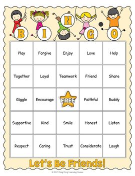 Friendship Bingo Game - Let's Be Friends!