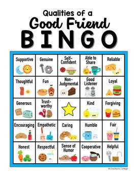 Friendship Bingo Game and Worksheet