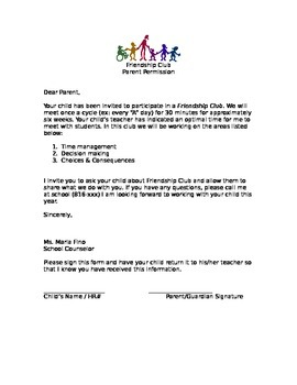 Friendship Club (Group Counseling) Parent Permission Form