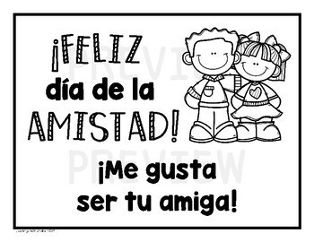 Friendship Day English and Spanish Card & Letter Set (No Prep)