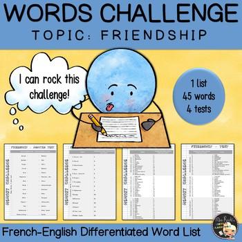 Vocabulary Word List Friendship