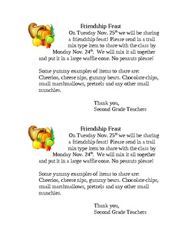 Friendship Feast-- Easy Thanksgiving Activity
