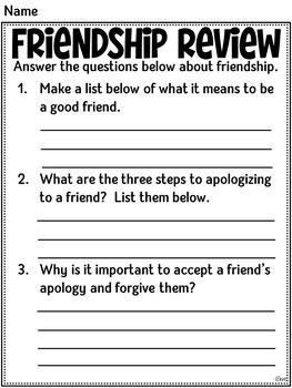 Friendship:  First Grade Social Studies Unit