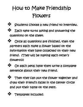 Friendship Flowers--Back to School