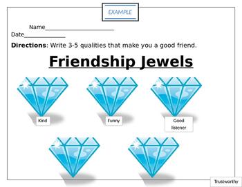 Friendship Jewels worksheet