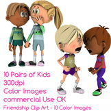 Friendship Kids Clip Art 10 Color Images Friends and Relat