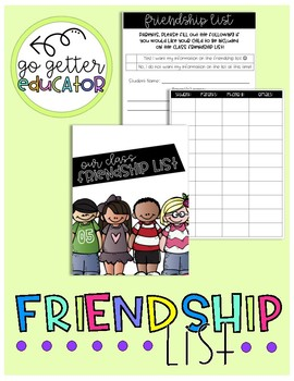 Friendship List: Build Your Classroom Community!
