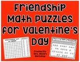 Friendship Math Puzzles (Valentine's Day activity)
