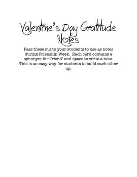 Friendship Notes-Great for Valentines Day or Friendship Week