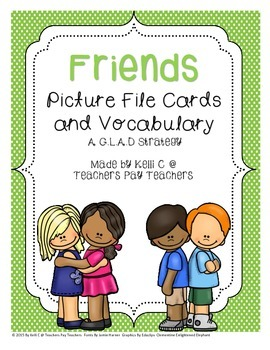 Friendship Picture File Cards and Vocabulary for ESL Stude