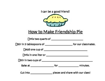 Friendship Pie Activity - Follow up to Enemy Pie