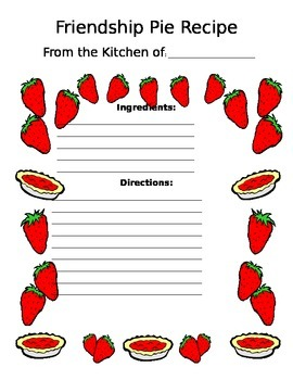 friendship pie activity template by chelsea chatterton tpt