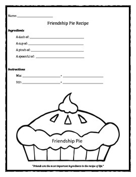 Friendship Pie Recipe worksheet
