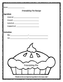 Friendship Pie Recipe worksheet