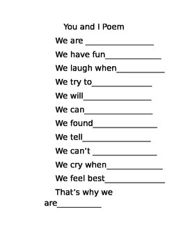 Friendship Poem Template- You and I Poem