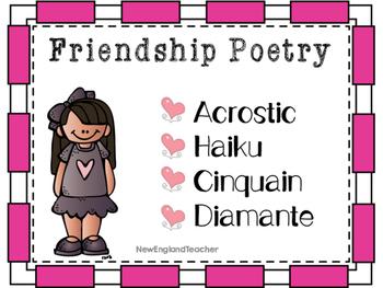 Friendship Poetry Pack: Acrostic, Cinquain, Diamante, and Haiku Poetry Templates