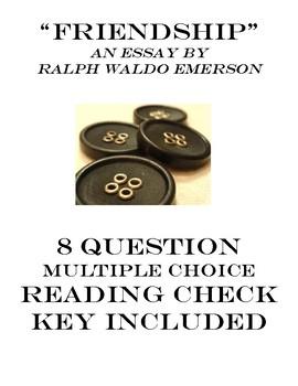 Friendship Ralph Emerson Transcendentalism Reading Check MC Quiz & Key