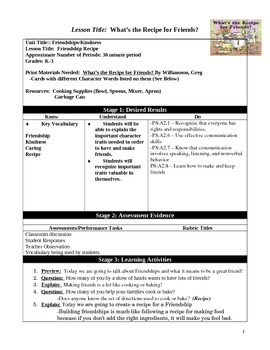 Friendship Recipe (Social Skills Lesson)