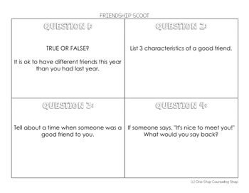 Friendship Scoot & Task Cards